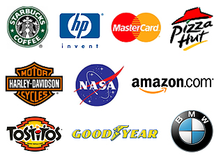 Combination Logos - Starbucks Coffee, HP, MasterCard, Pizza Hut, Harley-Davidson, NASA, Amazon, Tostitos, Goodyear, BMW