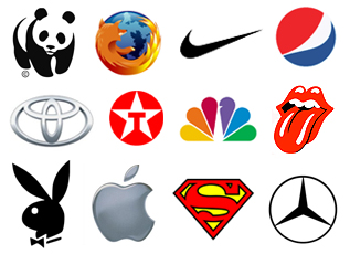 Symbol Logos - World Wide Fund For Nature, Mozilla Firefox, Nike, Pepsi, Toyota, Texaco, NBC, Rolling Stone, Playboy, Apple, Superman, Mercedes
