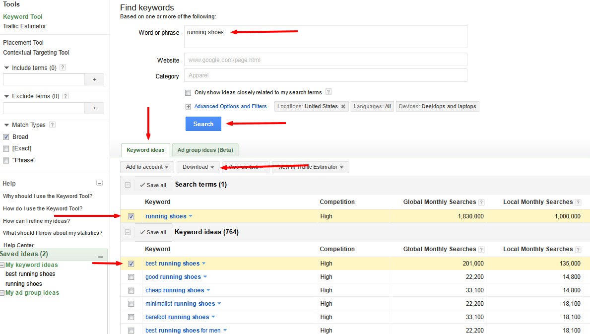sonar keyword tool how to check search volume